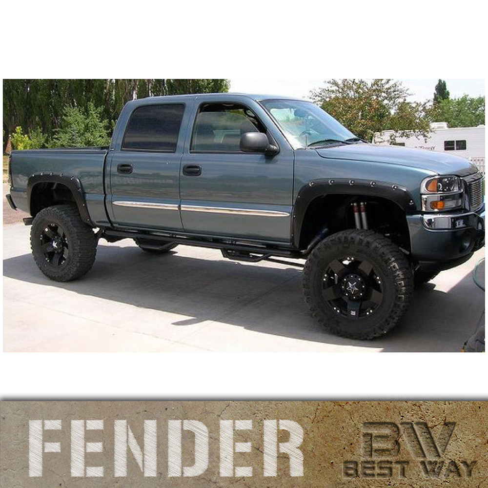 TEXTURED 01-07 Chevy Silverado 2500 3500 Pocket Riveted Fender Flares Paintable