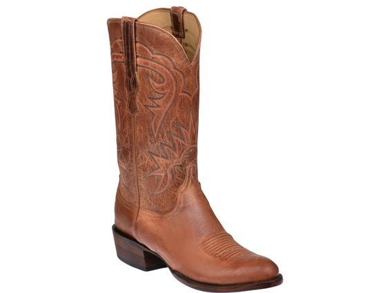 Lucchese HL1504.63 Burleson Mens Tan Burnished Goat Leather Cowboy Western  Boots