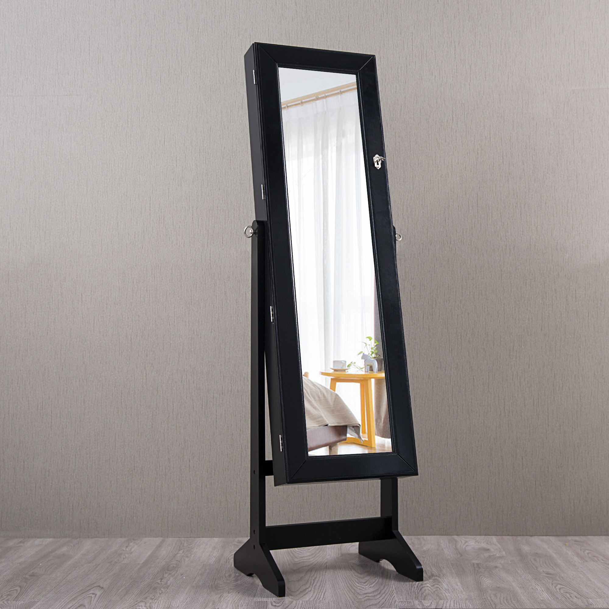 white stand westwood lockable mirror armoire cabinet led storage jewelry itm sentinel jewellery