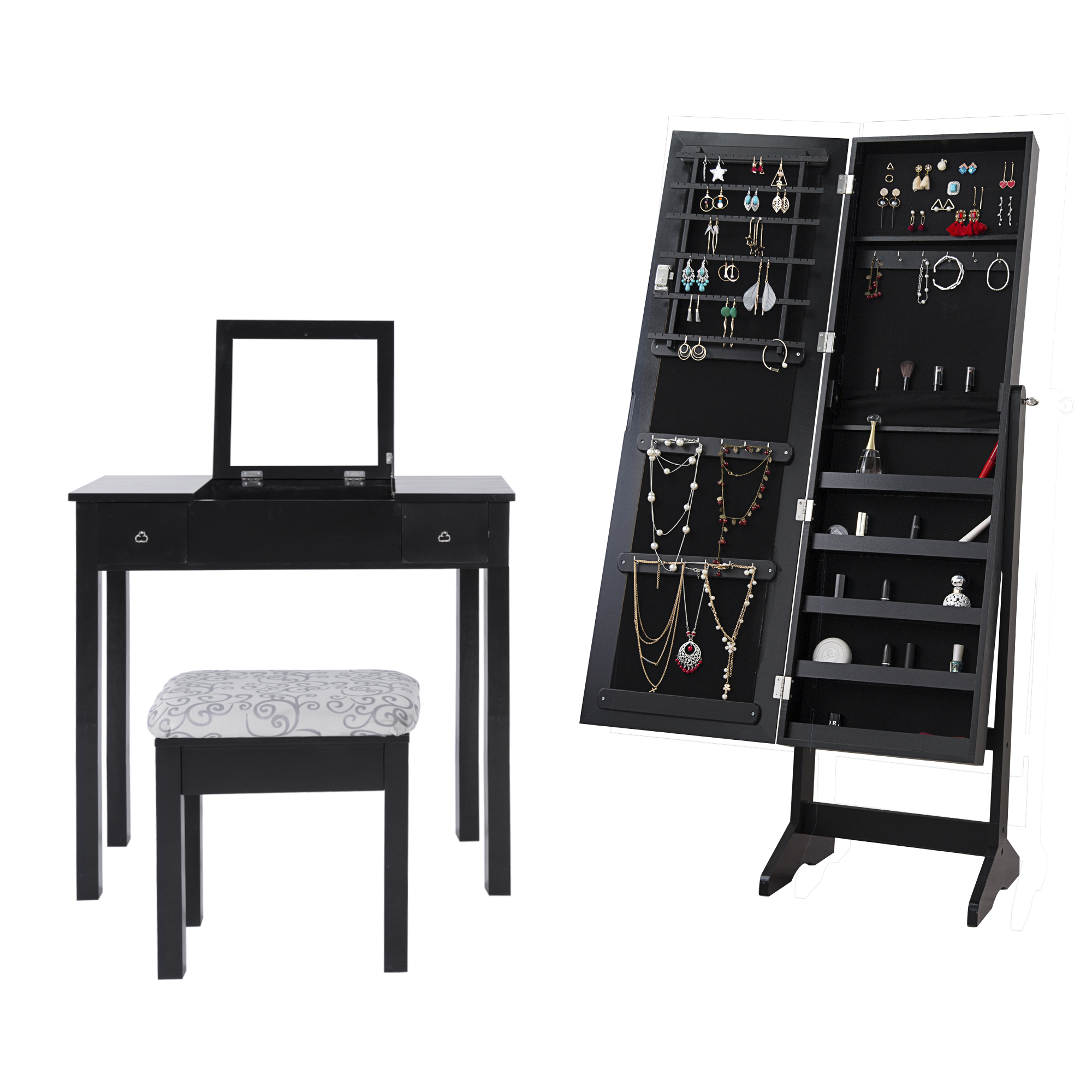 vanity itm stool set cabinet dressing makeup jewelry mirrored table w standing led