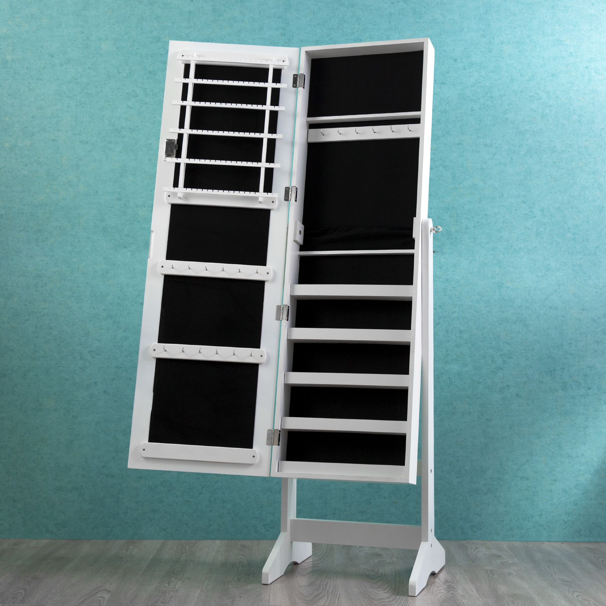 Lockable Mirrored Adjustable Jewelry Cabinet Armoire Organizer