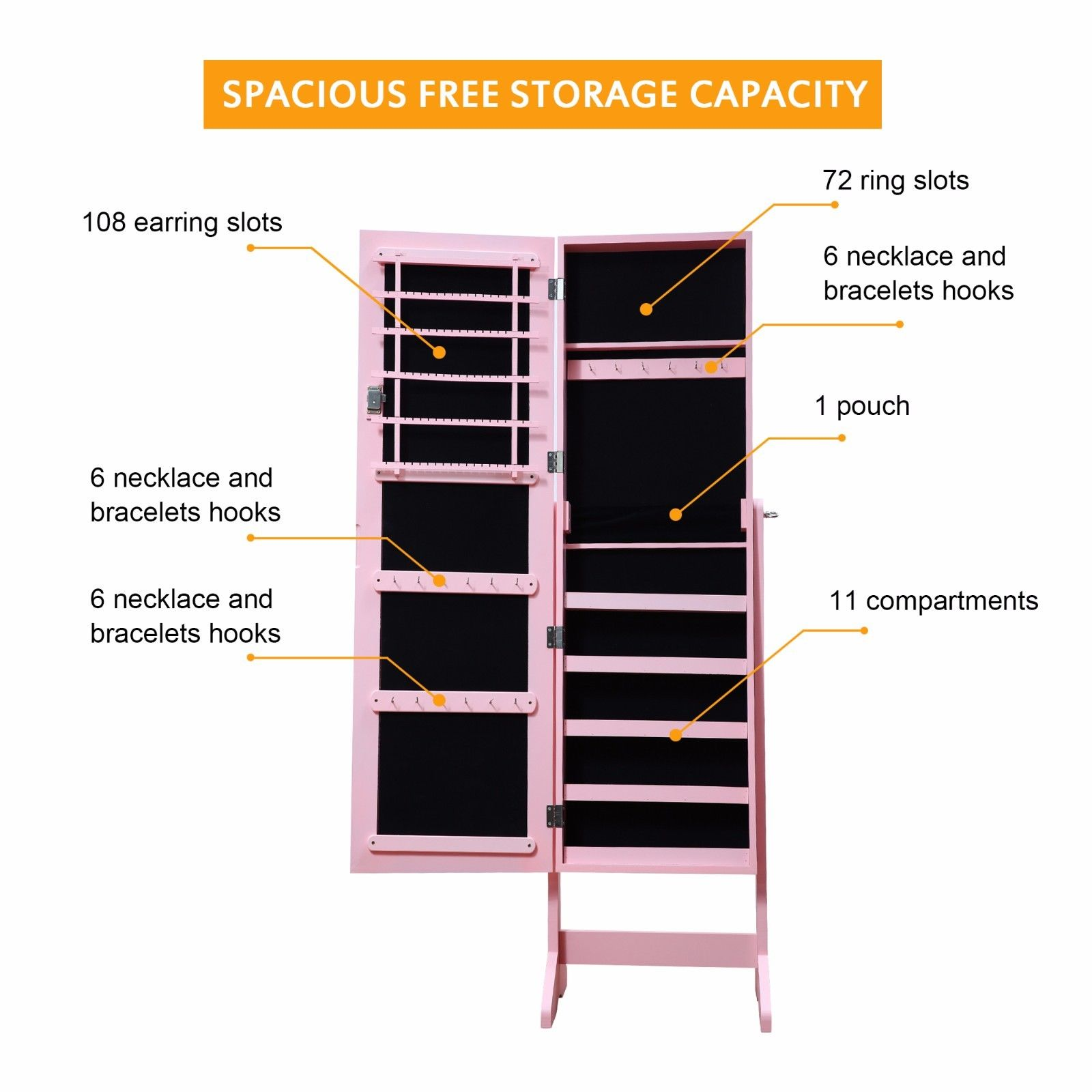 Lockable Mirrored Jewelry Cabinet Armoire Organizer Storage Box