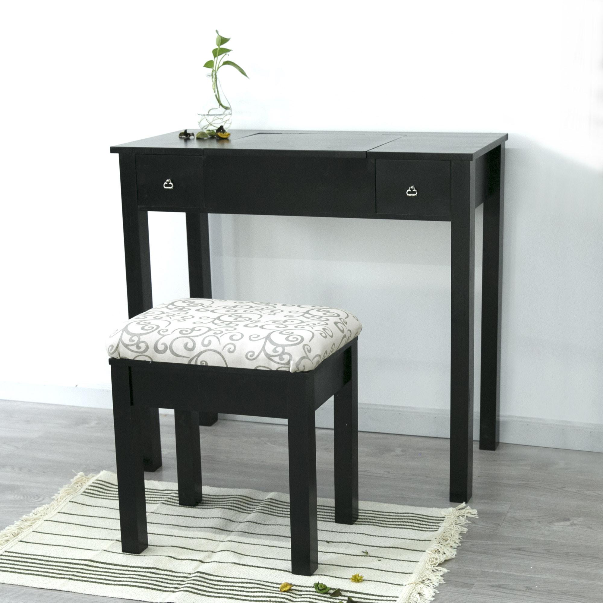 Vanity-Table-Set-Makeup-Flip-top-Mirrored-Dressing-  sc 1 st  eBay & Vanity Table Set Makeup Flip-top Mirrored Dressing Table Set w ...