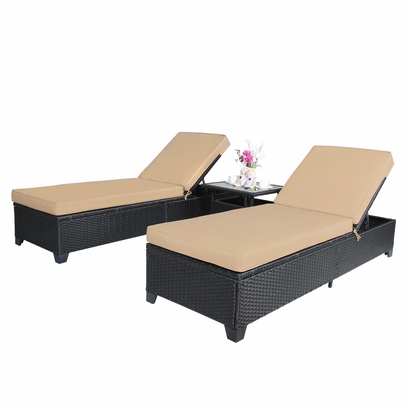 Outdoor 4pc Patio Wicker Rattan Chaise Lounge Chairs With