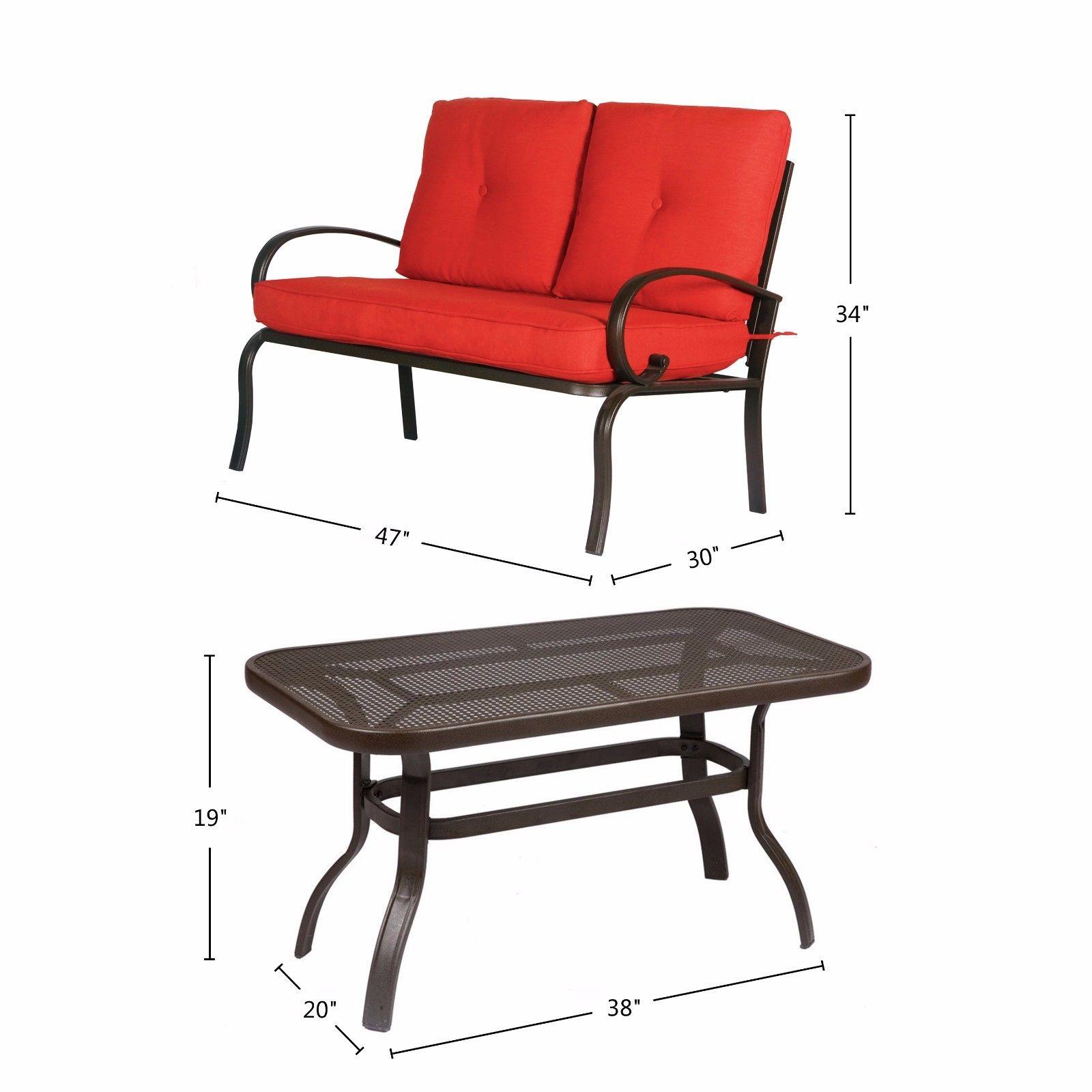 3 Piece Outdoor Furniture Patio Conversation Set Loveseat
