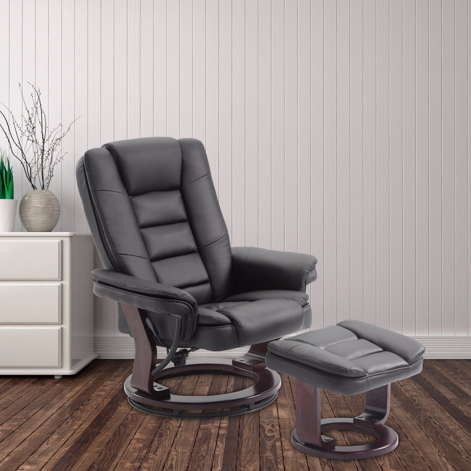 Recliner Chair and Ottoman Swivel Lounge Leisure Leather Living Room ...