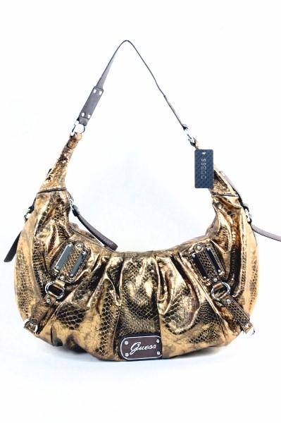 Details about Guess Women's Eye Catching Bronze Vinyl Handbag