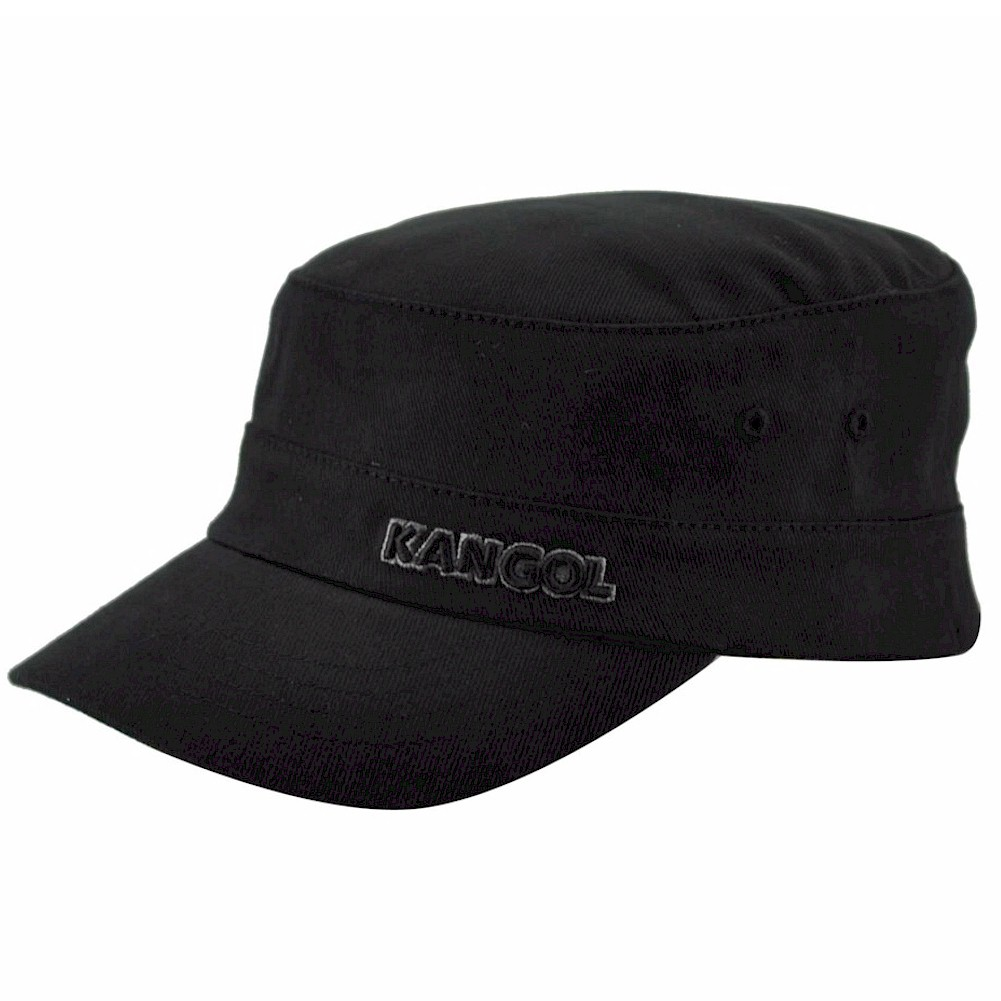 Kangol Men s Cotton Twill Army Cap Black Hat  5d6d6aad7569