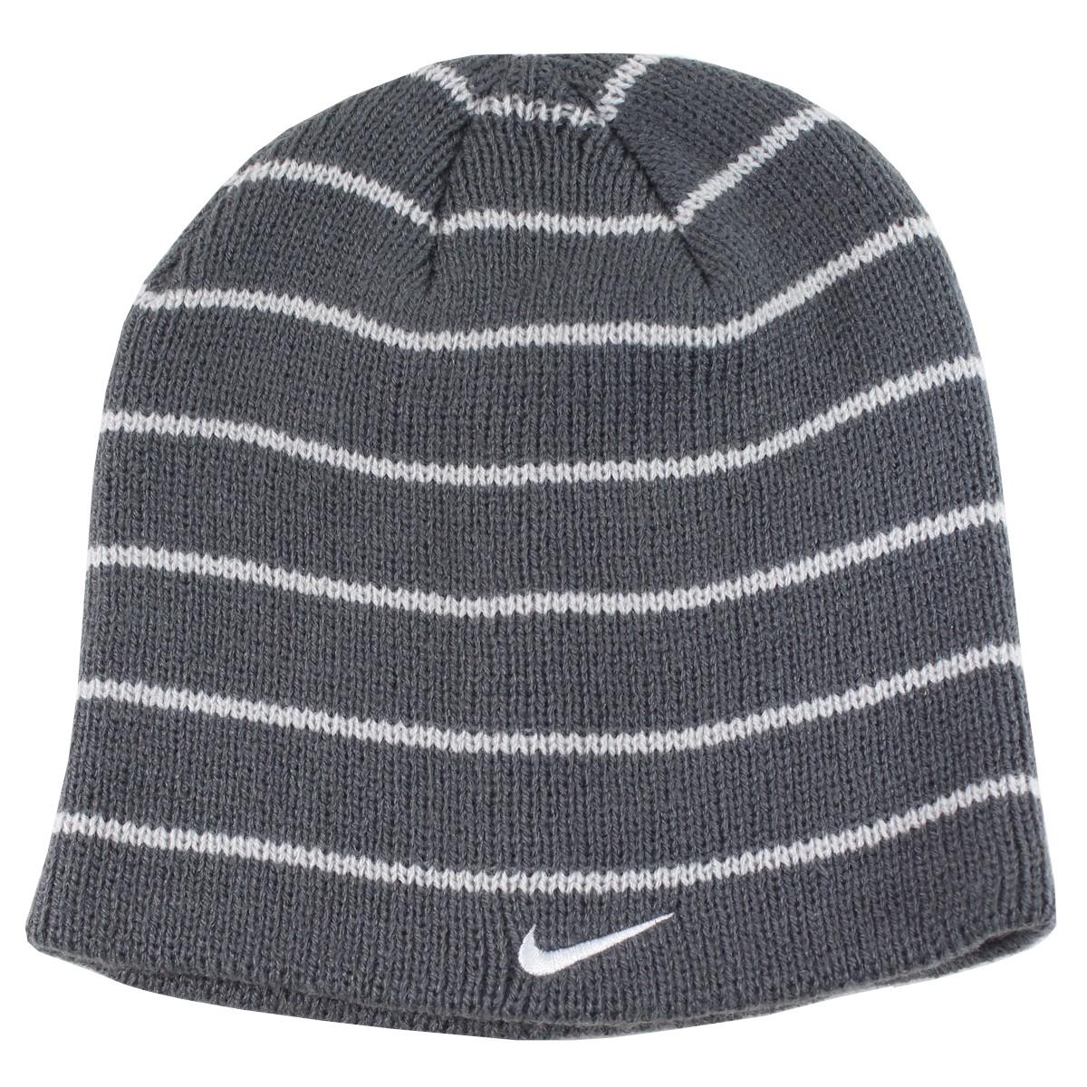 26824ad2b87c7 Nike Youth Boy s 8 20 Dark Grey Stripe Beanie Hat 617846196615