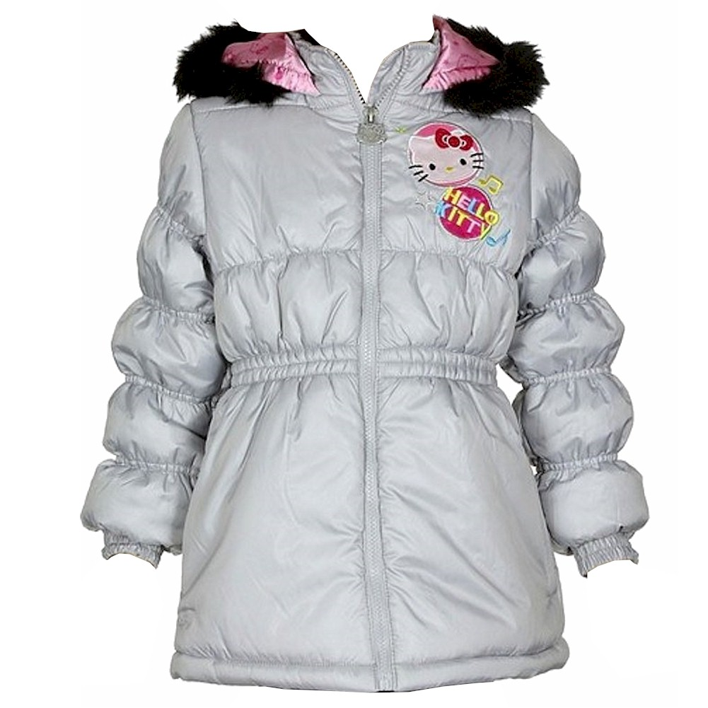 93073780c Hello Kitty Infant Toddler Girl s HK031 Puffer Hooded Grey Winter ...