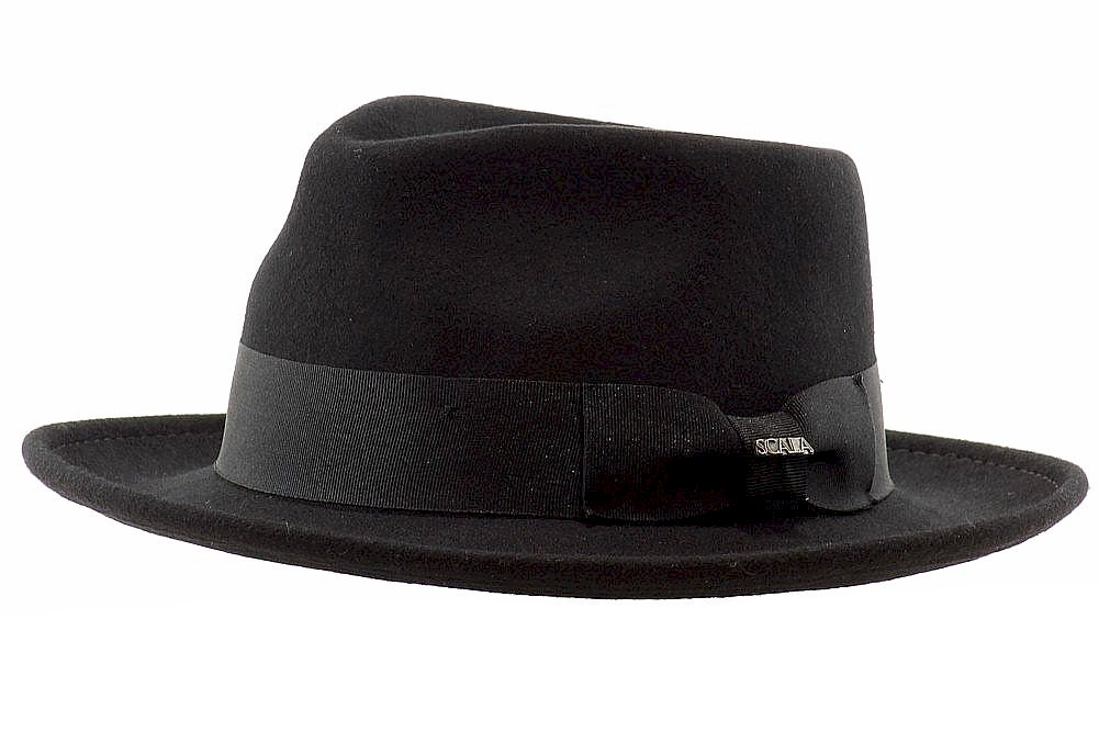 Scala Classico Men s Wool Felt Crushable Black Fedora Hat  69e697895875