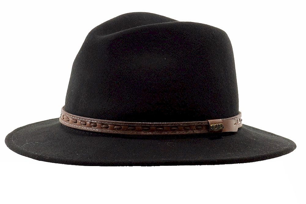 Scala Classico Men s Sierra Black Wool Water Repellent Safari Hat  aaaa794203b7