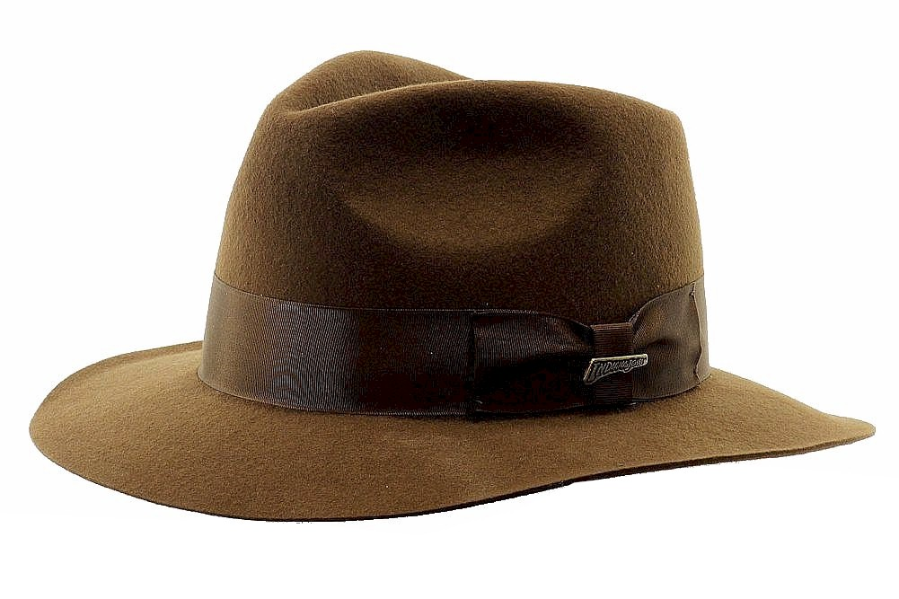 4cbac84ce0133 Indiana Jones Men s Brown Wool Felt Fedora Hat