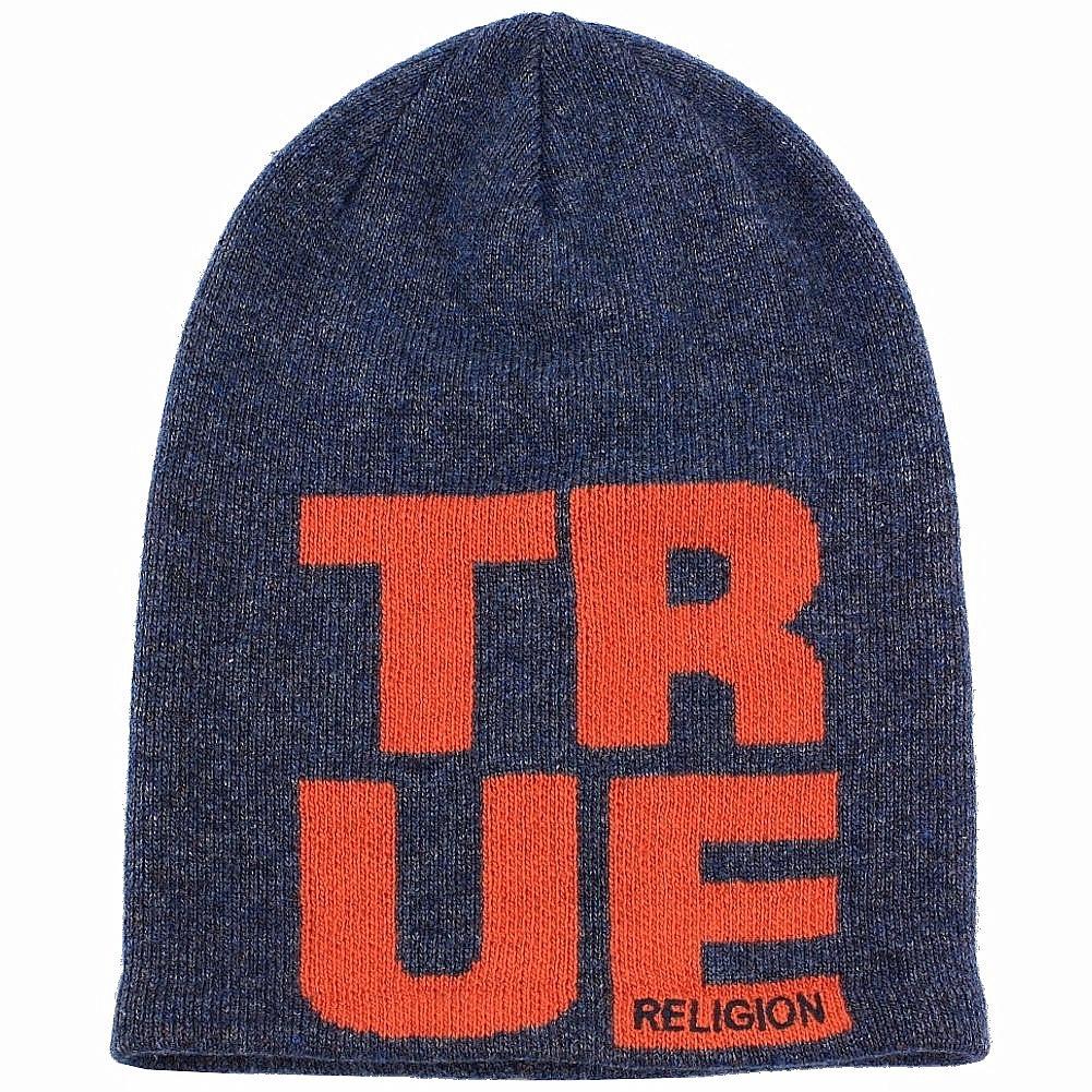 122db733f2d8b True Religion Men s Slouchy Midnight Blue Beanie Hat (One Size Fits ...