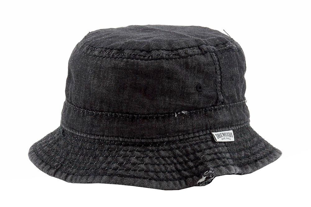 acb5501e01a4e True Religion Men s Black Denim Distressed Bucket Hat Sz  S M