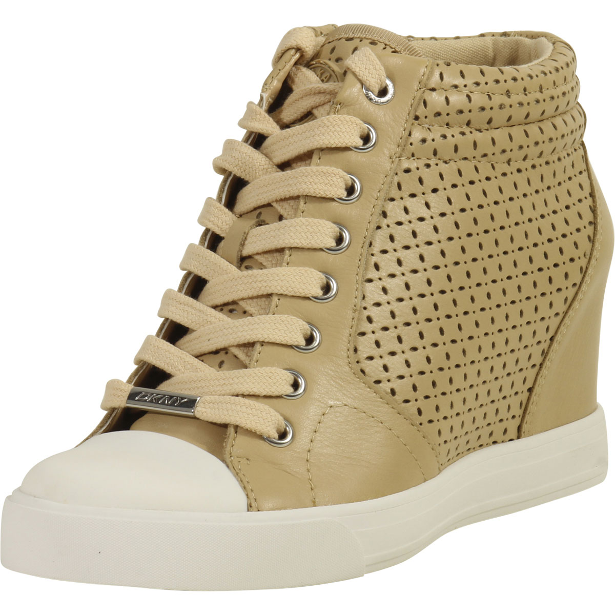 daac25cb5 Details about Donna Karan DKNY Women s Cindy Buff Fashion Wedge Sneakers  Shoes