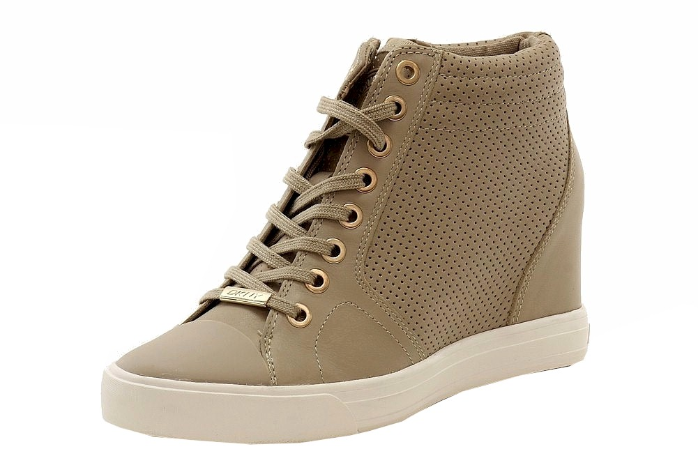8211f336f731 Donna Karan DKNY Women s Cindy Fashion Perforated Taupe Wedge ...