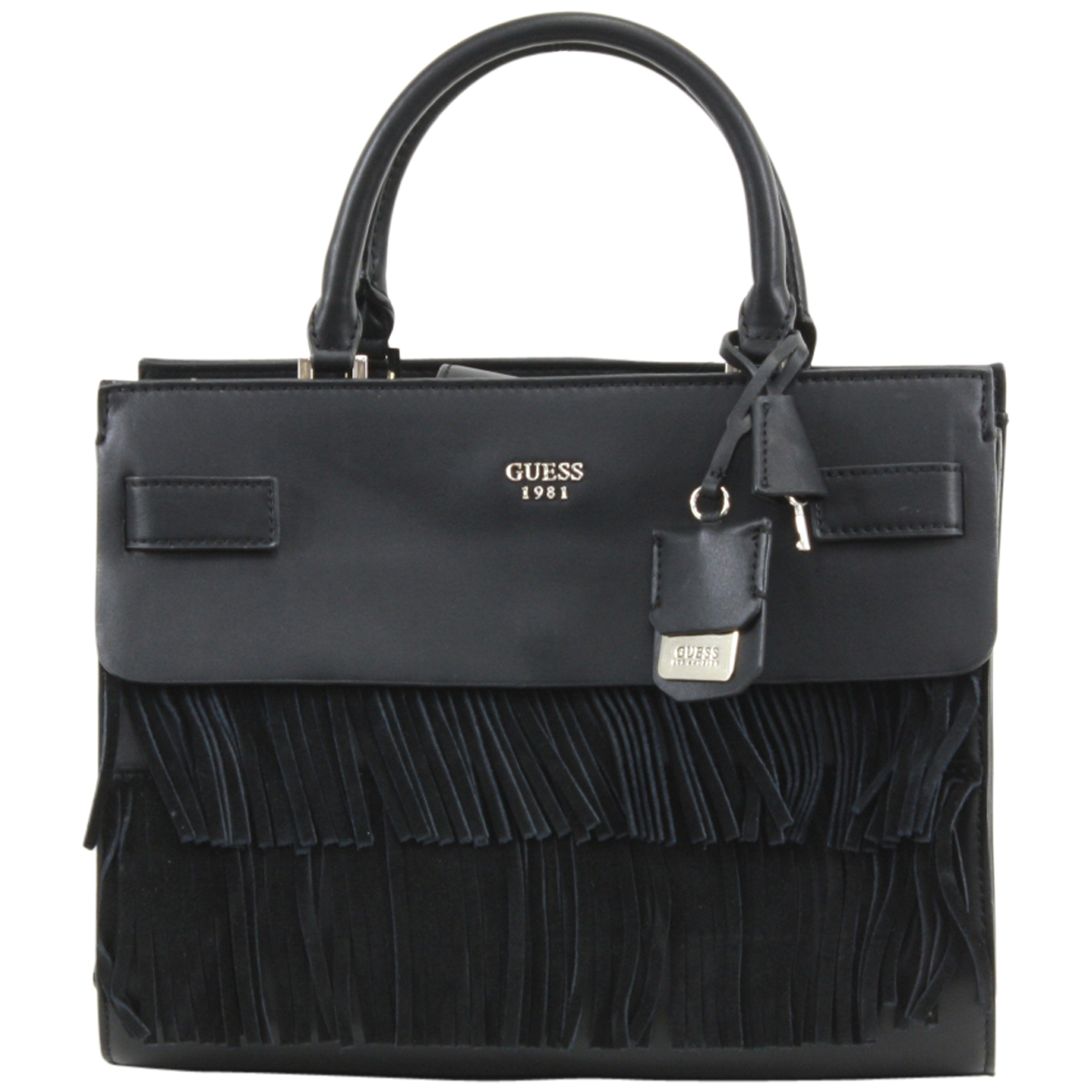 Details about Guess Women's Cate Black Pebbled Satchel Handbag