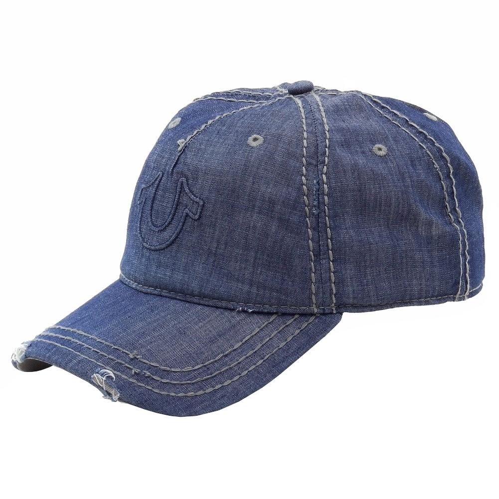 aff2c9164658ed True Religion Men's Distressed Indigo Horseshoe Baseball Cap Hat ...