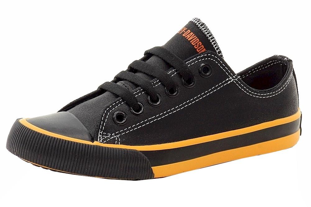 Harley-Davidson D83816 Women/'s Zia Fashion Black//Orange Leather Sneakers Shoes