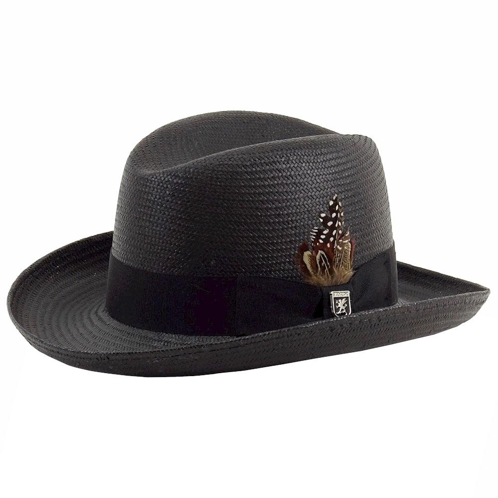 Stacy Adams Men s Homburg Black Toyo Straw Fedora Hat  2699e00eeae1