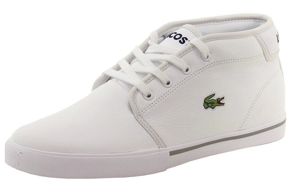 6d48281dc Lacoste Men s Ampthill LCR3 White Leather Chukka Sneakers Shoes