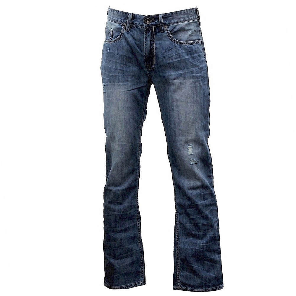 Buffalo By David Bitton Mens Six Slim Straight Fit Blue Distressed Jeans