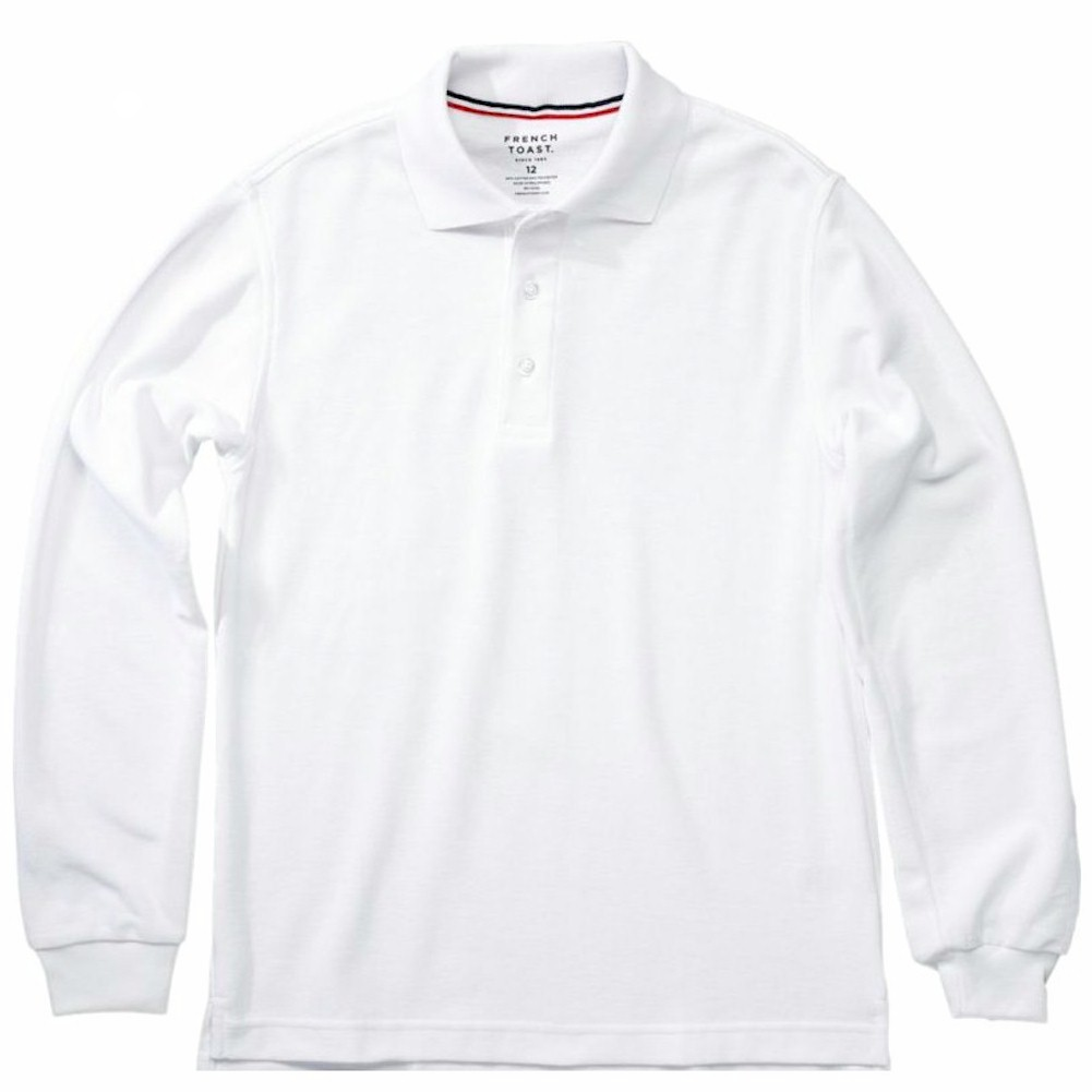64555ec31 French Toast Toddler Boy's Long Sleeve Pique Polo White Uniform ...