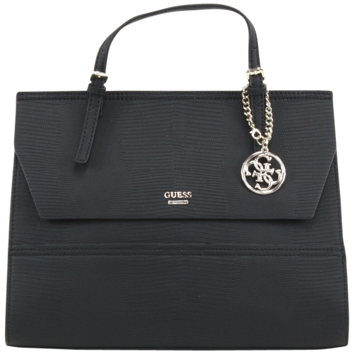 8045fc32e Guess Women's Huntley Flap-Over Top Handle Black Satchel Handbag ...