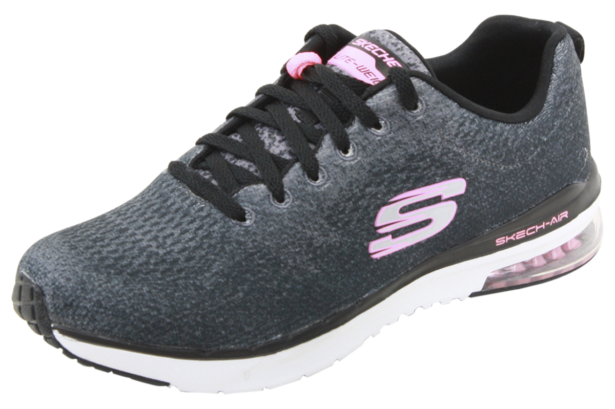 cheap look for sale Details about Skechers Skech-Air Infinity Modern Chic Black Memory Sneakers  Shoes