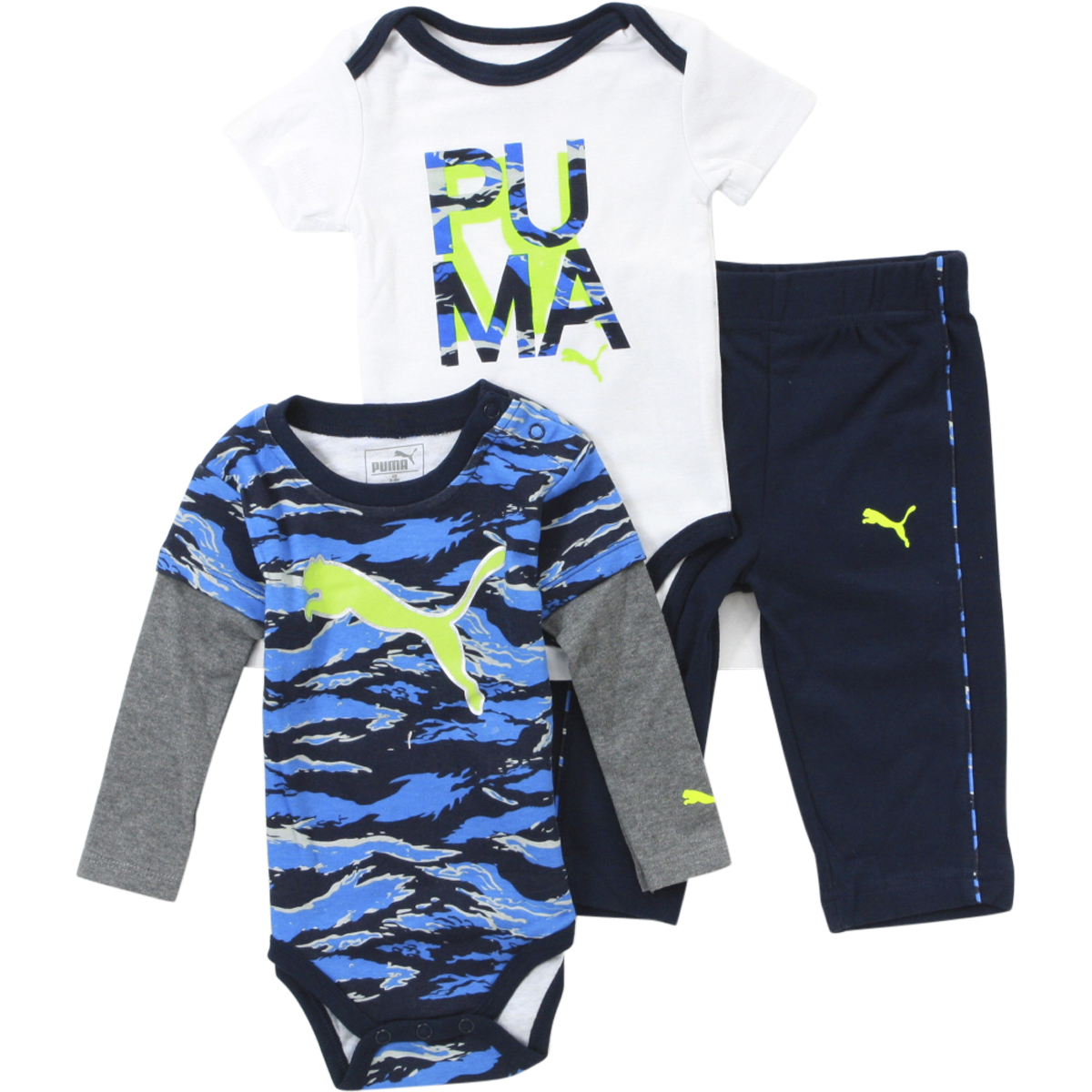 245bd0a3 Details about Puma Infant Boy's Cat Logo 3-Piece Newborn Deep Navy Bodysuit  & Pant Set