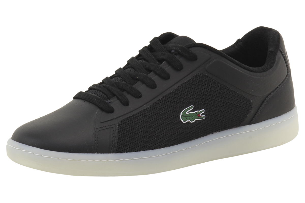 c0631eac0 Lacoste Men s Endliner 416 1 Black Canvas Suede Sneakers Shoes