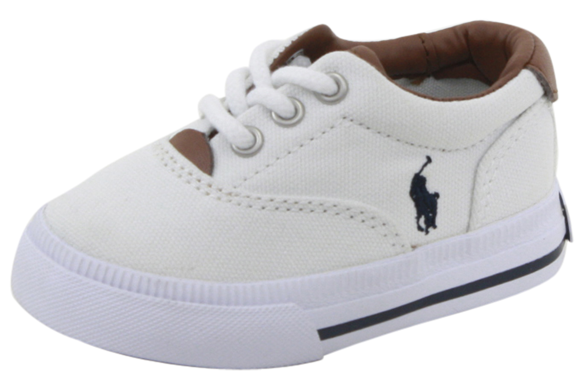 7e2a86c09 Details about Polo Ralph Lauren Toddler Boy's Vaughn II White/Navy Sneakers  Shoes
