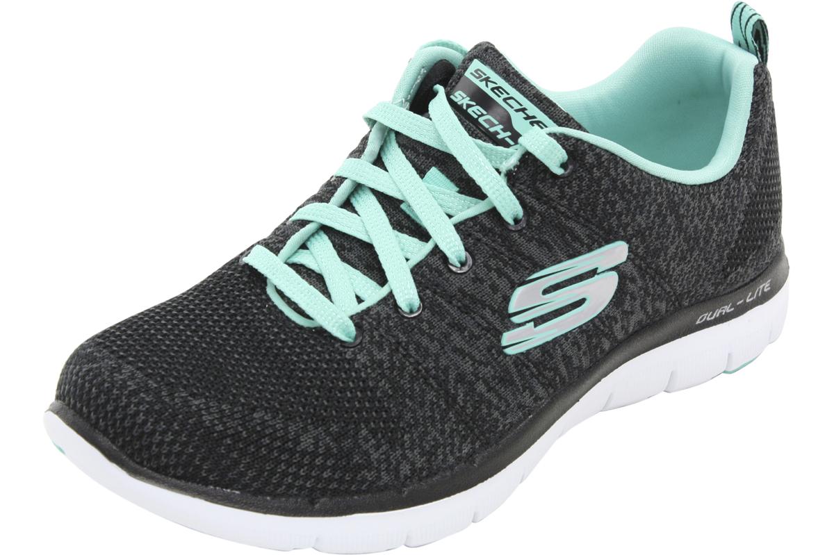 7b322425bbe7 Details about Skechers Flex Appeal 2.0 - High Energy Black Aqua Sneakers  Shoes