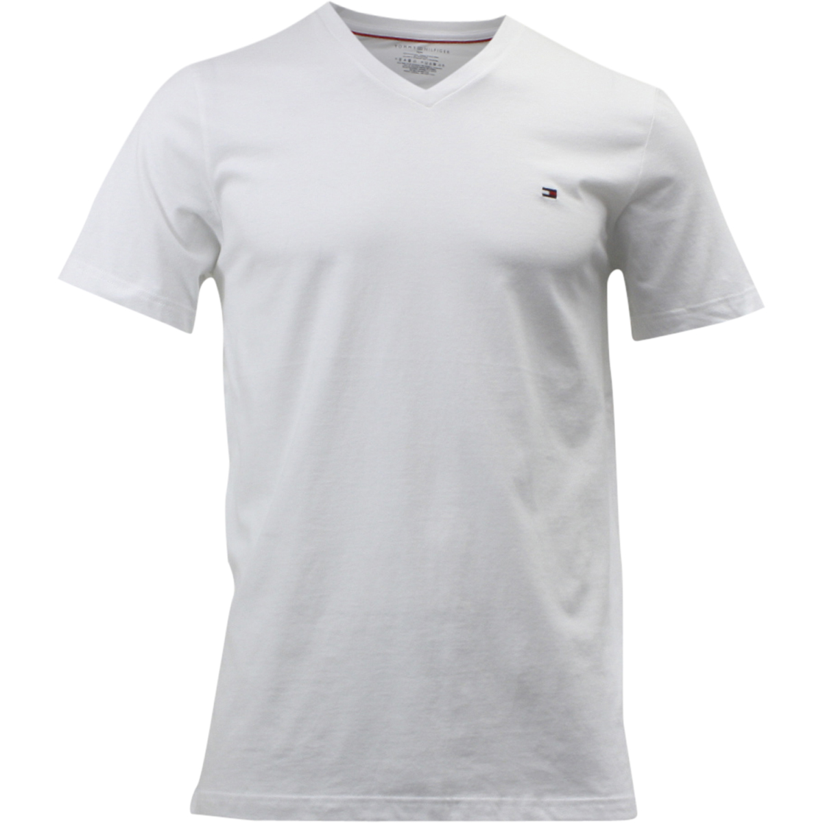 c1b265737 Tommy Hilfiger Men's Core Flag Short Sleeve V-Neck White Cotton T ...
