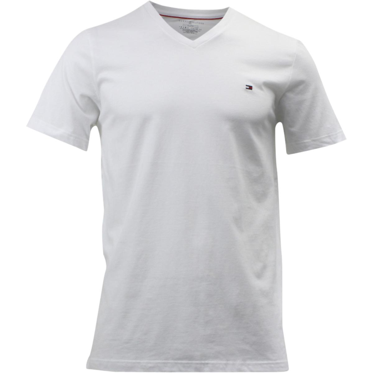 c1b265737 Tommy Hilfiger Men's Core Flag Short Sleeve V-Neck White Cotton T ...