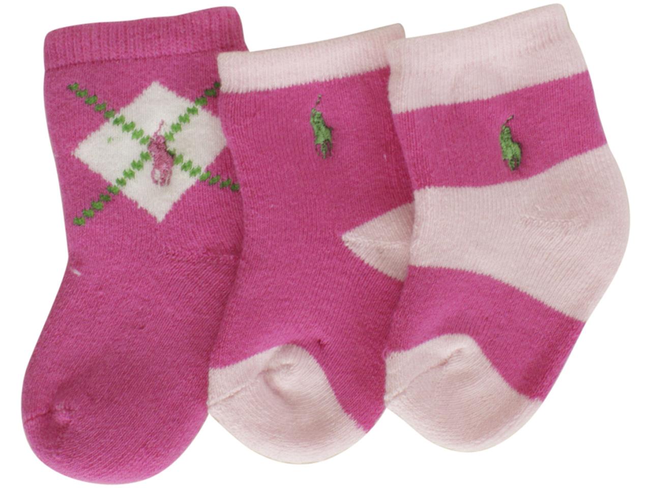 Polo Ralph Lauren Infant Girls Socks White//Pink 18-24 Months Single Pack