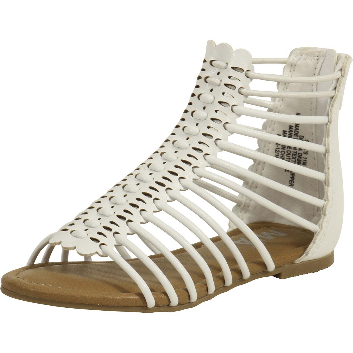 2ef99ed159f Mia Kids Little Big Girl s Darla White Caged Gladiator Sandals Shoes ...