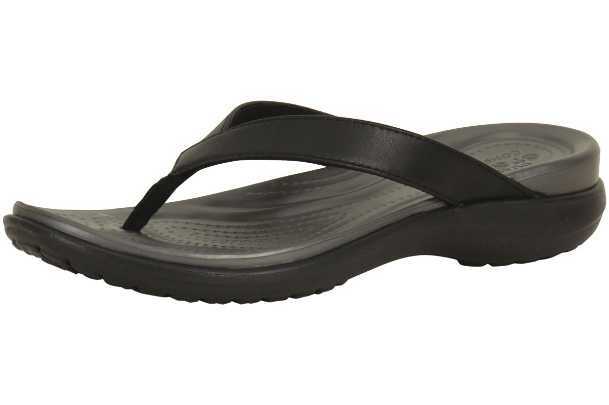 697f4716f253 Crocs Women s Capri-V Black Graphite Thong Flip Flops Sandals Shoes ...