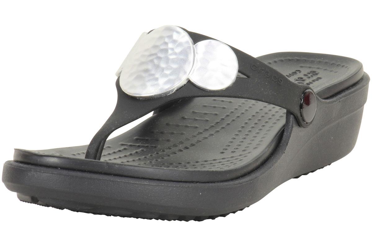 dbc3e038ebf Crocs Sanrah Black Silver Embellished Wedge Flip Flops Sandals Shoes ...