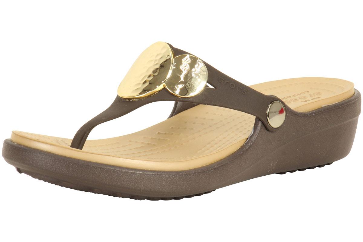 99f875153592 Crocs Sanrah Espresso Gold Embellished Wedge Flip Flops Sandals ...