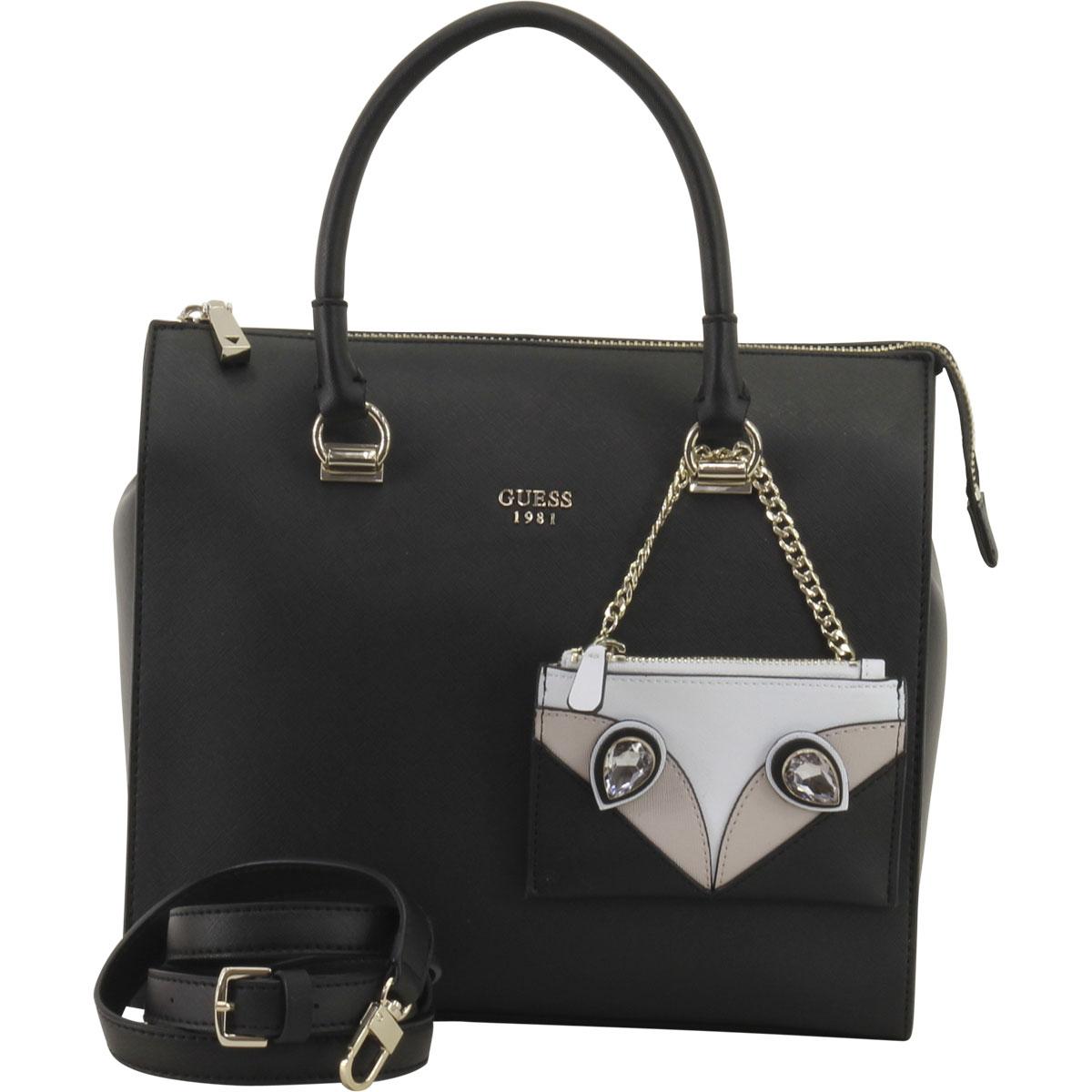 Guess Women s Kizzy Black Box Satchel Handbag 885935998963  717d0b1425156