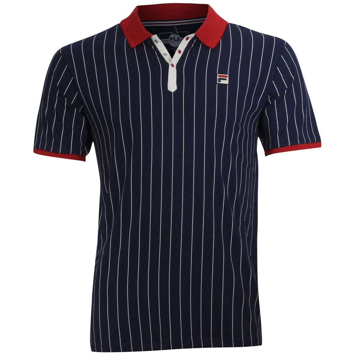 Fila Men/'s BB1 Short Sleeve Peacoat Blue//Red//Gardenia Cotton Polo Shirt