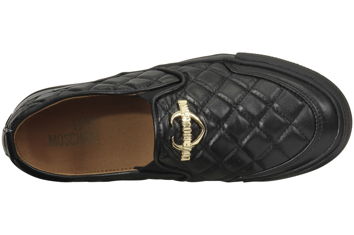 3551a37b750 Love Moschino Women s Quilted Metal Logo Loafers Shoes