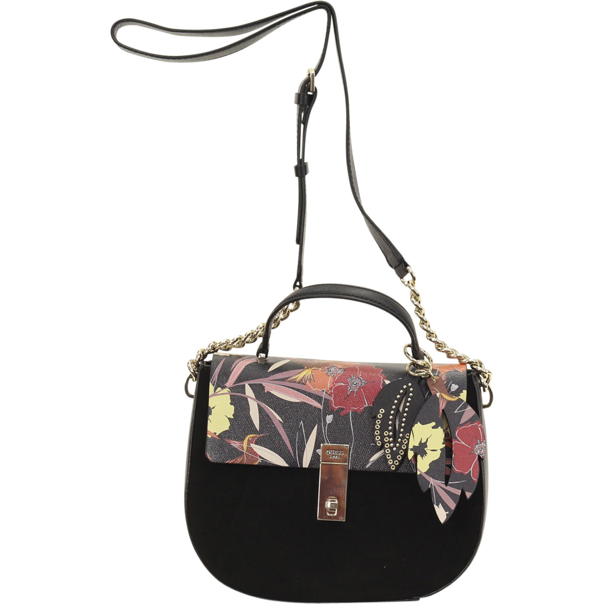 07ffd07c5b1a Guess Women s McKenna Black Floral Top Handle Crossbody Handbag ...