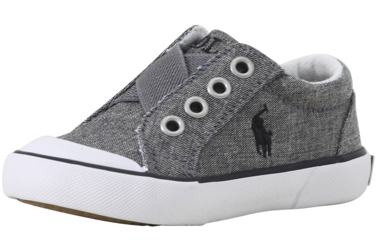 Polo Ralph Lauren Niño Boy's greggner Gris Chambray Mocasines ... ae4a5ee35876