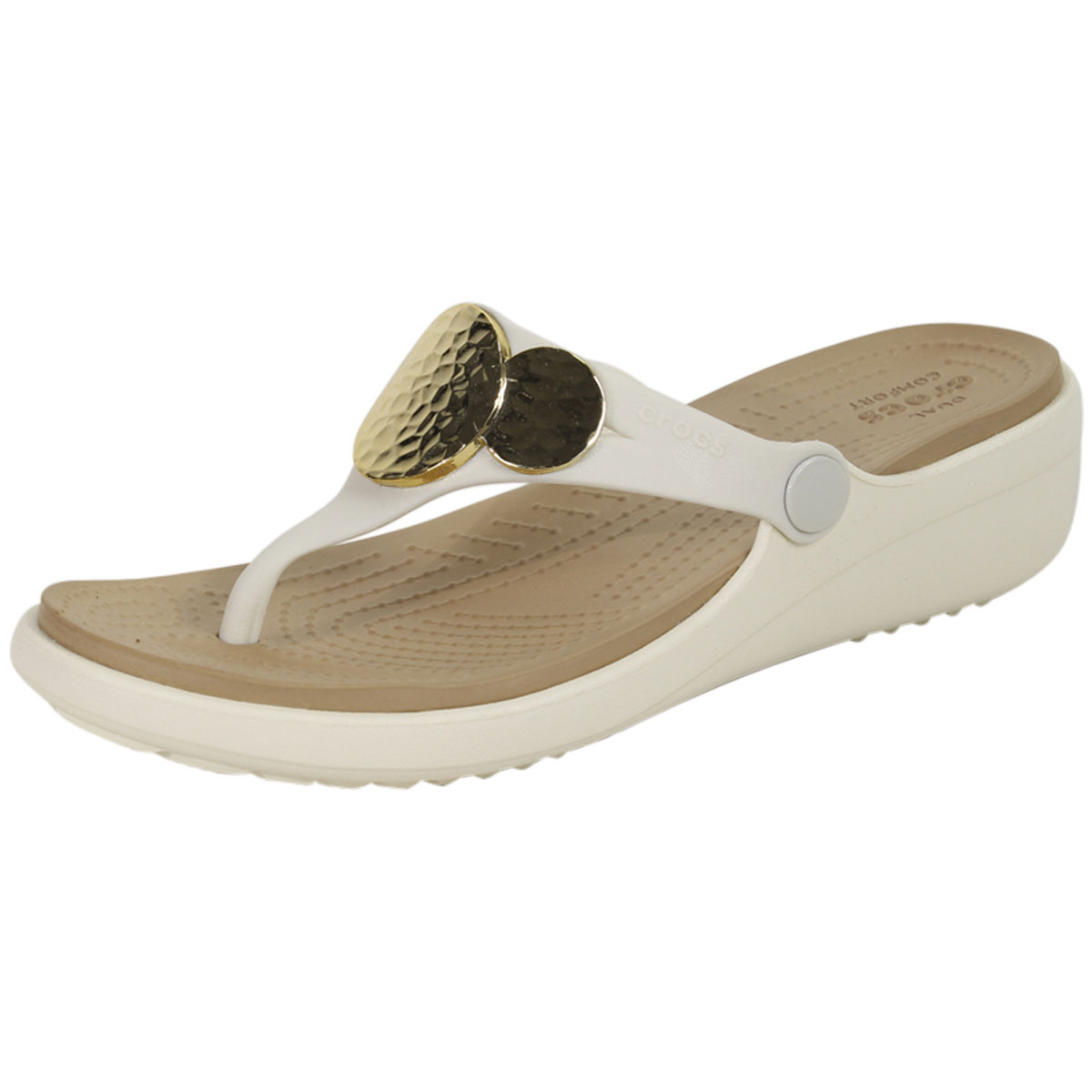 6a8cff3d0fc0 Crocs sanrah oyster gold embellished wedge flip flops sandals shoes jpg  1200x1200 Crocs sanrah