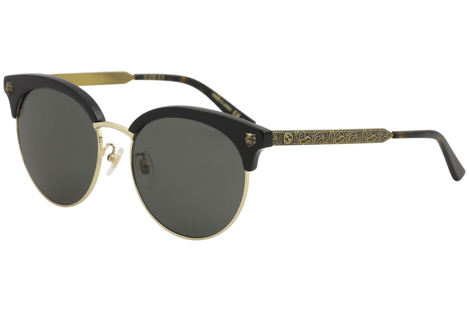79a6d82c3f Gucci Women s GG0222SK GG 0222 SK 001 Black Gold Fashion Round ...