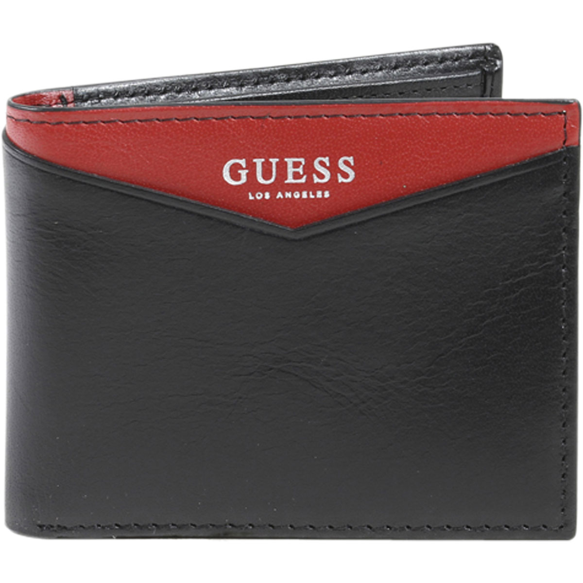 25768cd7ac1d Guess Men s Huntington RFID Blocking Genuine Black Red Leather ...