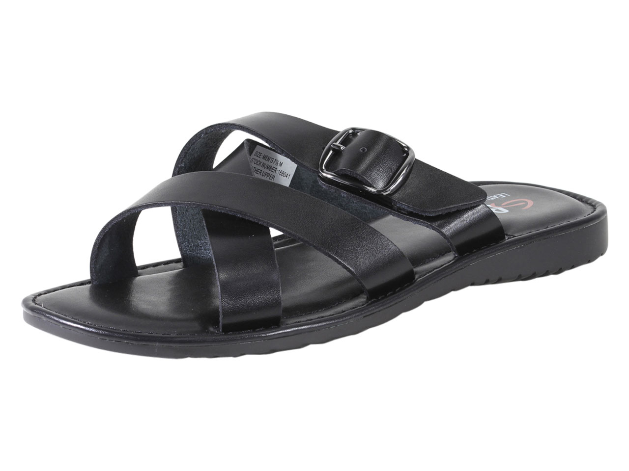GBX Men s Siano Slide Sandal 12 M Black Leather  4ae1f7520